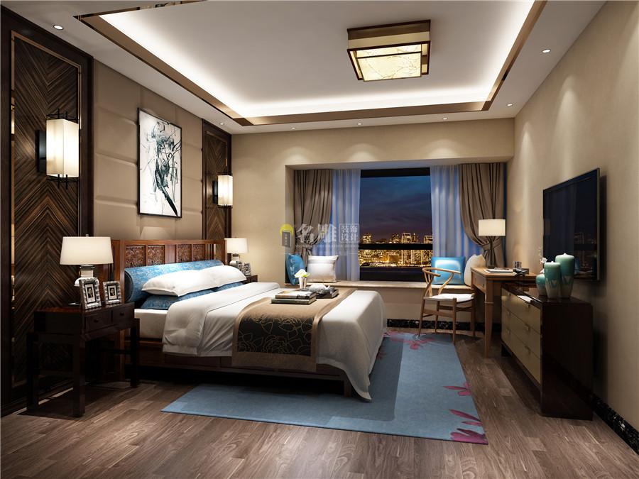 天花的设计与客厅天花相似,但选用了现代材质不锈钢收边,床头背景选用图片